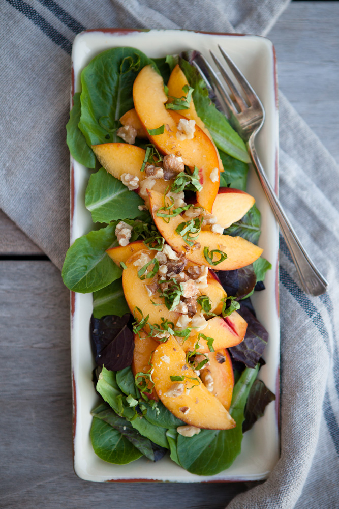 Peaches, Basil and Baby Greens